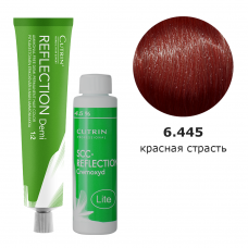 Набор безаммиачная краска 6.445 Deep Red Berries DEMI + безаммиачный окислитель 4,5%