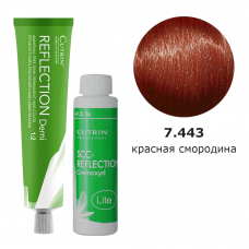 Набор безаммиачная краска 7.443 Deep Red Berries DEMI + безаммиачный окислитель 4,5%
